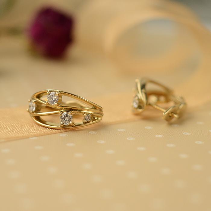Серьги из желтого золота Медея с бриллиантами 000030527