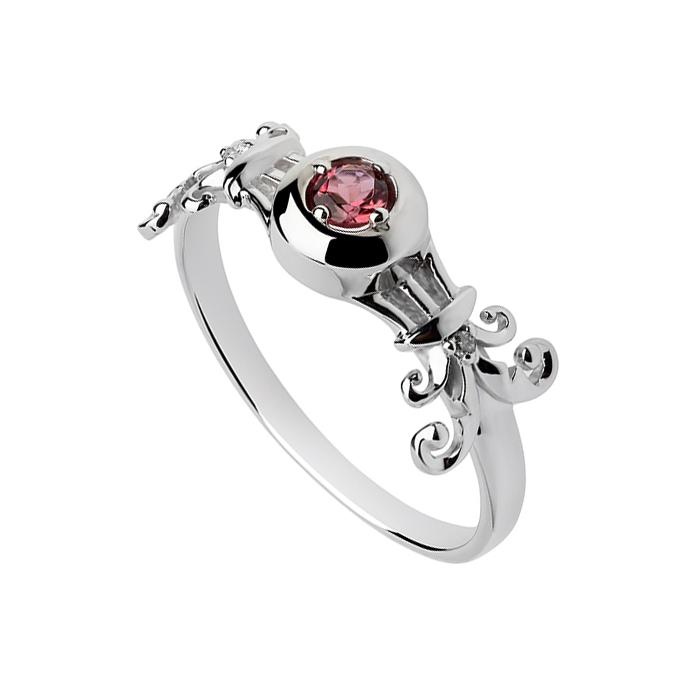 Кольцо из белого золота с розовым турмалином Оделия 000030336