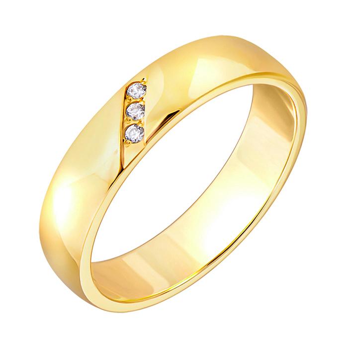 Золотое обручальное кольцо с фианитами Адель 1089л