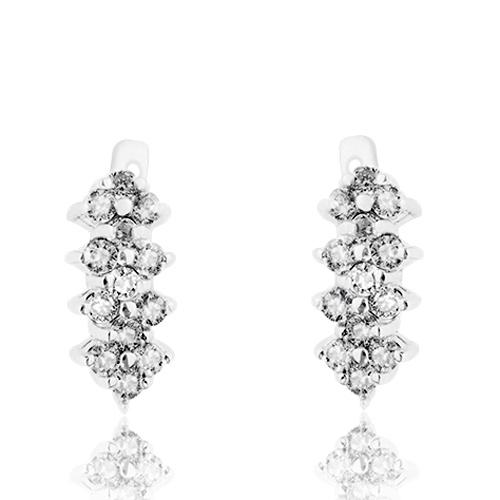Серьги из серебра Золушка с белыми фианитами 10030056