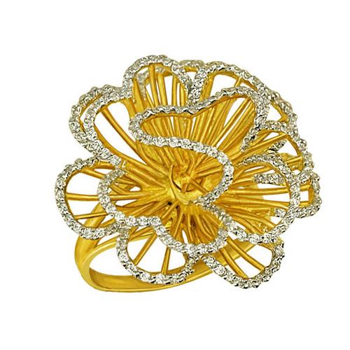 Золотое кольцо Нежный цветок в желтом и белом цвете с фианитами VLT--ТТ1042-1