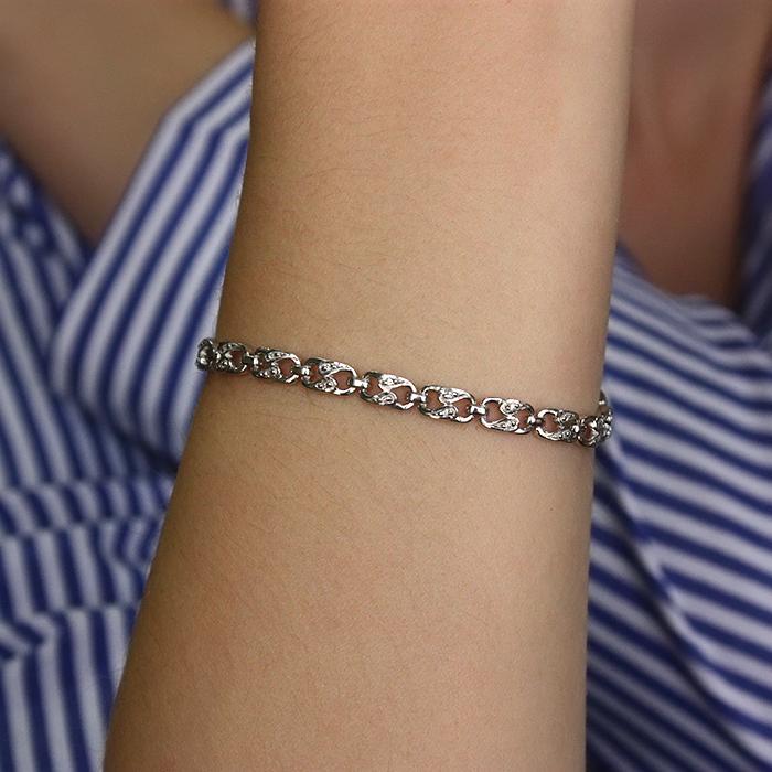 Серебряный браслет с бриллиантами Степ, 5мм 000022379