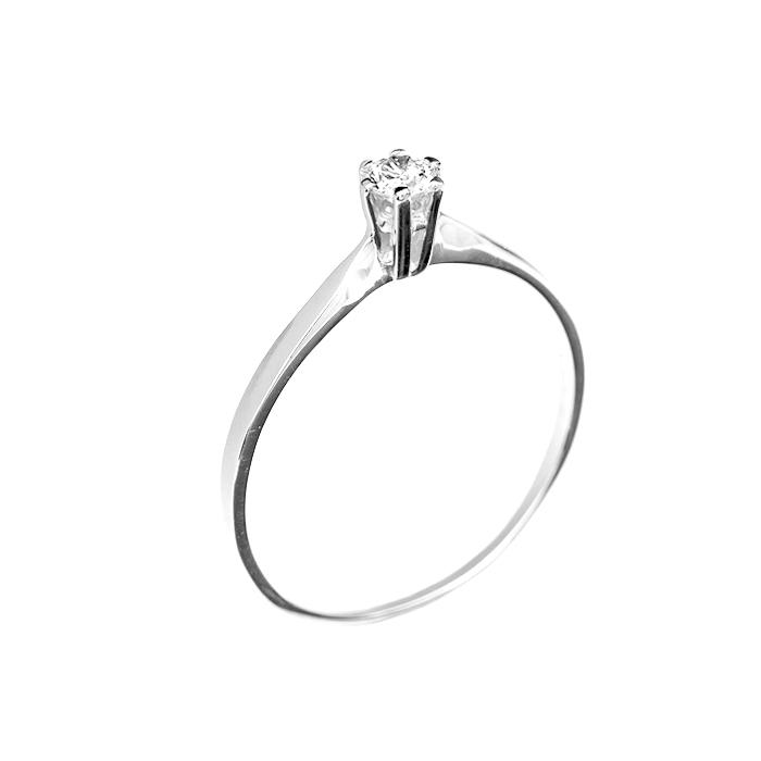 Кольцо в белом золоте Ирена с бриллиантом 000079295
