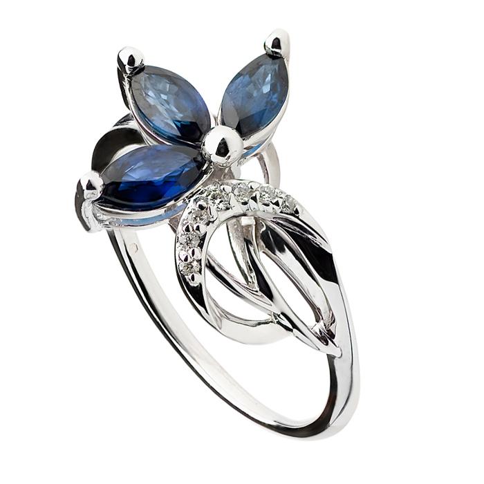 Кольцо из белого золота с сапфирами и бриллиантами Жозефина 000030334