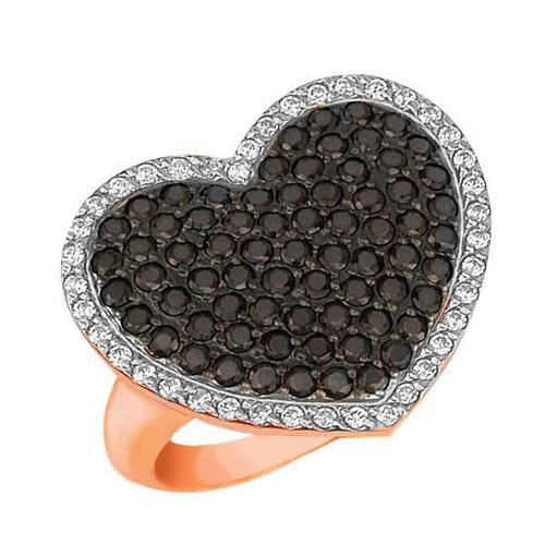 Золотое кольцо Сердце Амура в красном, белом и черном цвете с черными и белыми фианитами VLT--Т194-5