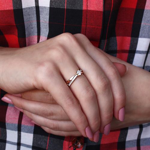 Кольцо в красном золоте Илана с фианитами 000078603