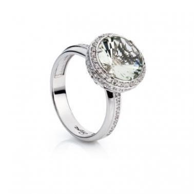 Серебряное кольцо с зеленым кварцем Мэри 000030039