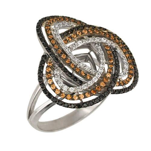 Золотое кольцо Фейерверк в белом и черном цвете с коньячными, белыми и черными фианитами VLT--ТТ1010