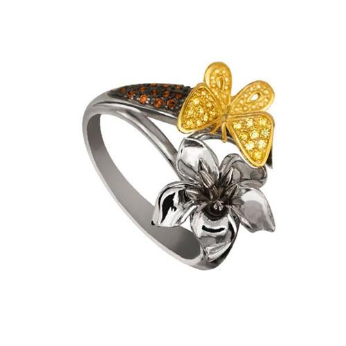 Кольцо из белого и желтого золота Тропиканка с цирконием VLT--ТТ1102