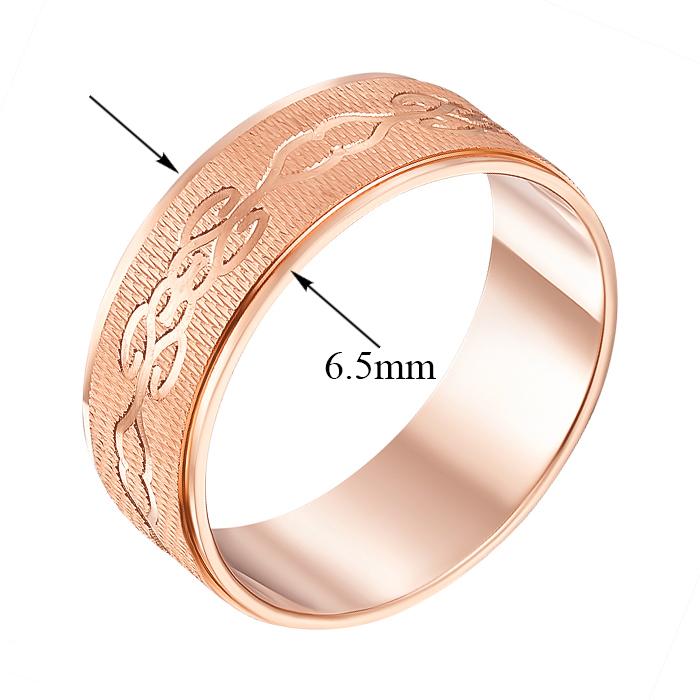 Обручальное кольцо из красного золота с алмазной гранью 000000334 1070/2