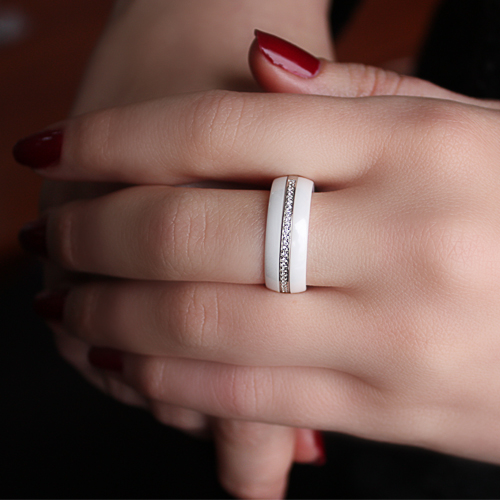 Серебряное кольцо Млечный Путь с керамикой и фианитами 000030991