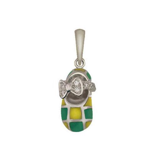 Золотой кулон Туфелька с бантиком в белом цвете с фианитами, зеленой и оливковой эмалью VLT--Т363