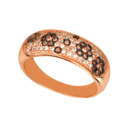 Золотое кольцо Цветочная мозаика в комбинированном цвете с коньячными и белыми фианитами VLT--ЕЕ1611