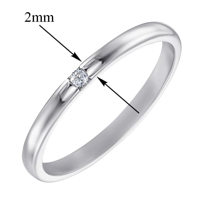 Обручальное кольцо из белого золота с цирконием 000000325 10102/02/1/46