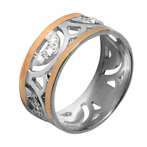 Серебряное кольцо Анталия с золотыми вставками и фианитами BGS--362к