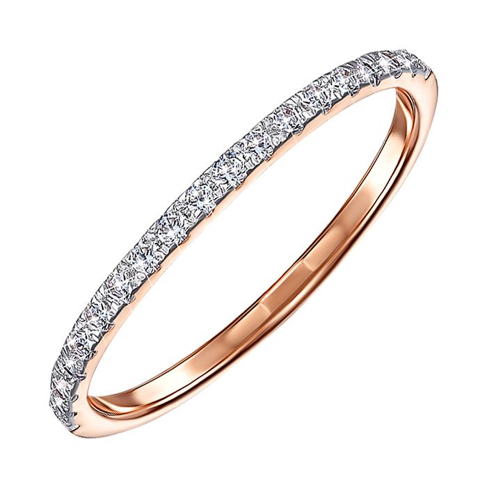 Золотое кольцо в комбинированном цвете с дорожкой из фианитов 000122285 000122285