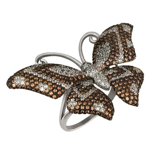 Золотое кольцо Бабочка в комбинированном цвете с коньячными и белыми фианитами VLT--ТТ1026