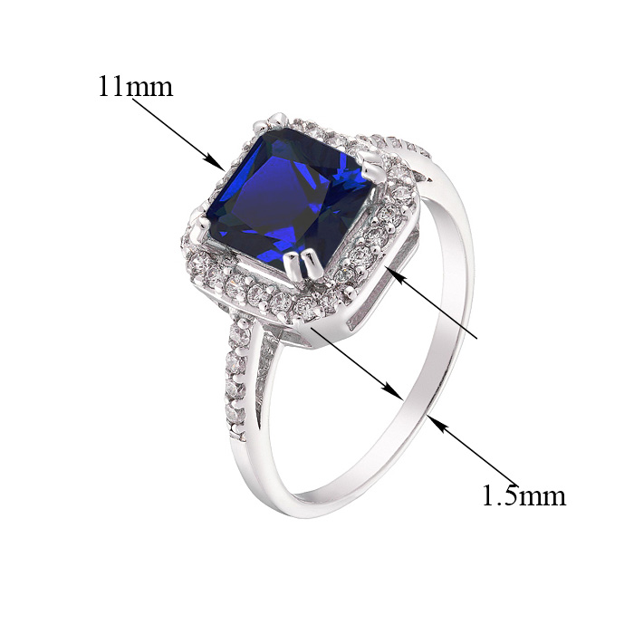 Серебряное кольцо Милана с сапфиром и фианитами 000078418