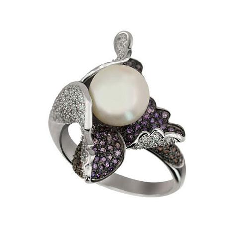 Золотое кольцо Ундина в комбинированном цвете с жемчужиной и фианитами VLT--ТТ1099