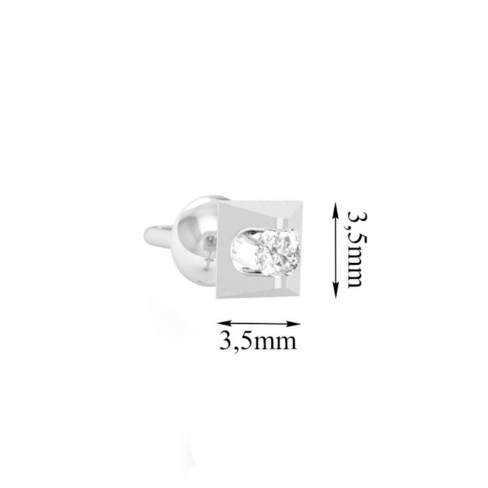 3олотые серьги-пуссеты Треугольнички в белом цвете с фианитами 000064795