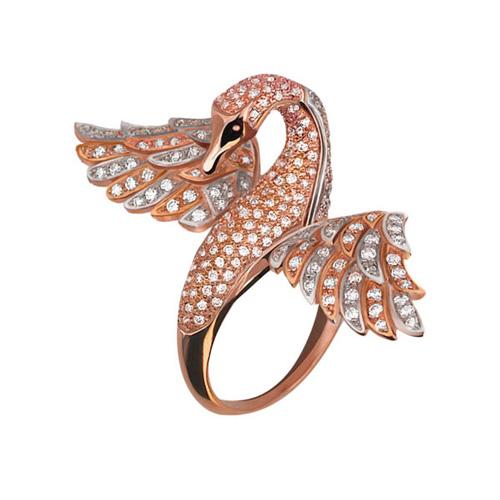 Золотое кольцо Лебедь в красном и белом цвете с фианитами VLT--ТТ1065-2