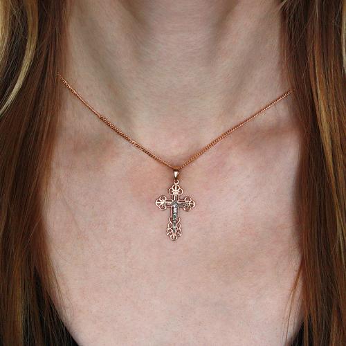 Золотой крестик в комбинированном цвете металла 000056927 000056927