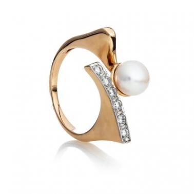 Золотое кольцо с жемчугом и фианитами Престиж 000029985