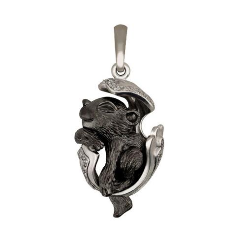 Золотой кулон Детеныш пантеры в белом и черном цвете с фианитами VLT--Т3485
