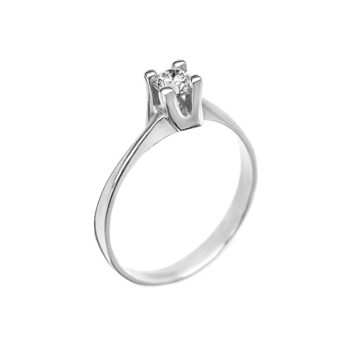 Кольцо в белом золоте Альхена с бриллиантом 000079311