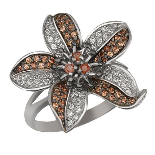 Золотое кольцо Эдельвейс в белом и черном цвете с коньячными и белыми фианитами VLT--ТТ1019