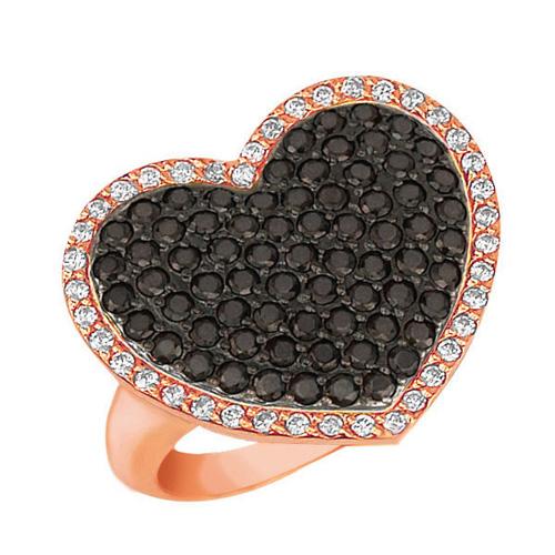 Золотое кольцо Сердце Амура в красном и черном цвете с черными и белыми фианитами VLT--Т194-3