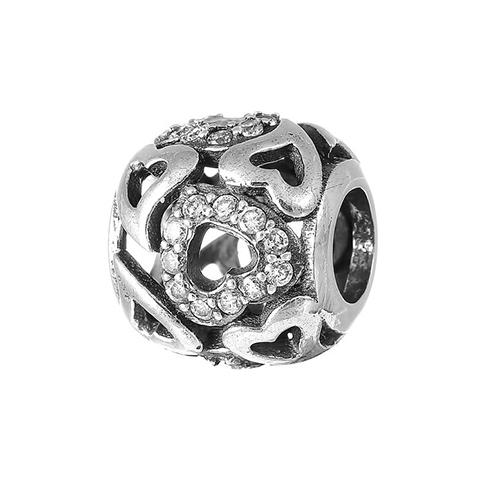 Серебряный шарм Галактика любви с кристаллами циркония 000028786