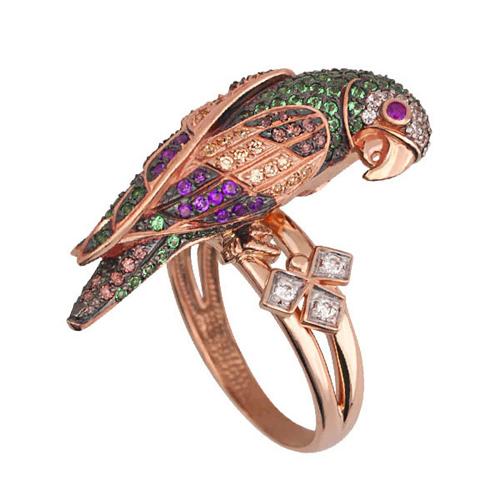 Золотое кольцо Королевский попугай в комбинированном цвете с цветными фианитами VLT--ТТ1034-2