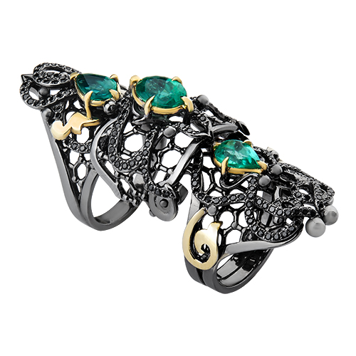 Золотое кольцо на две фаланги с изумрудами и чёрными бриллиантами Lace 000029272