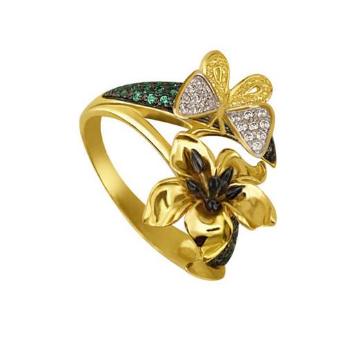Золотое кольцо Тропиканка с цирконием VLT--ТТ1102-1