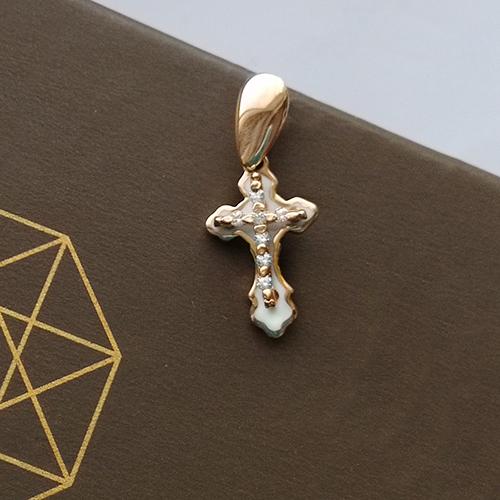 Золотой крестик с белой эмалью и фианитами 000043106 000043106
