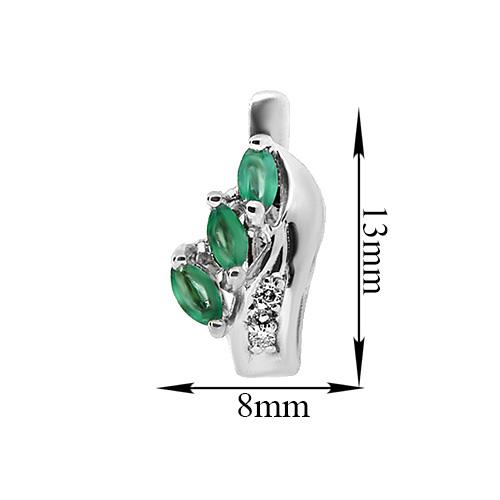 Серебряные серьги Марина с зелеными агатами и фианитами 000067518