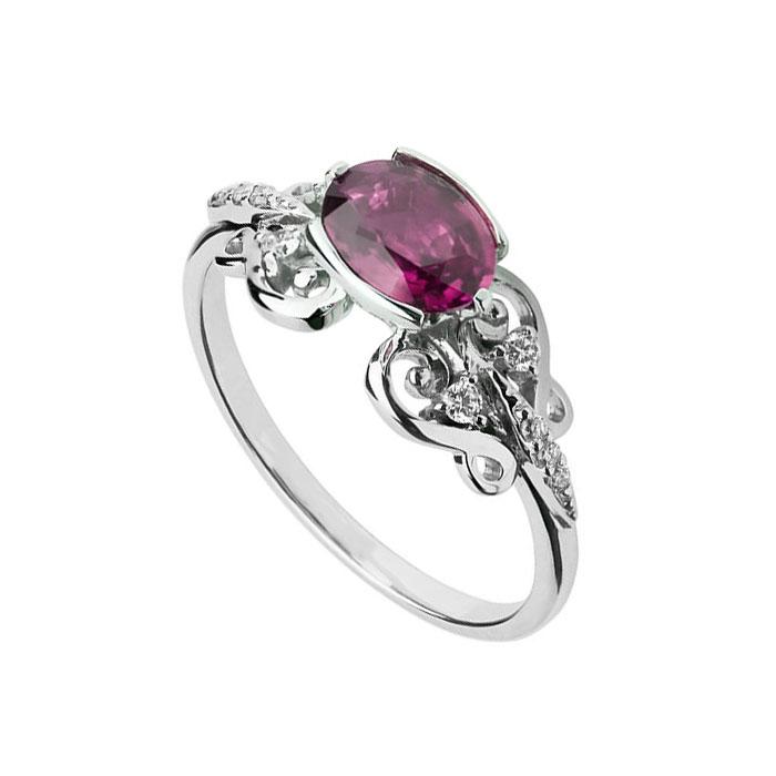 Кольцо из белого золота с турмалином и бриллиантами Роскошь 000030340