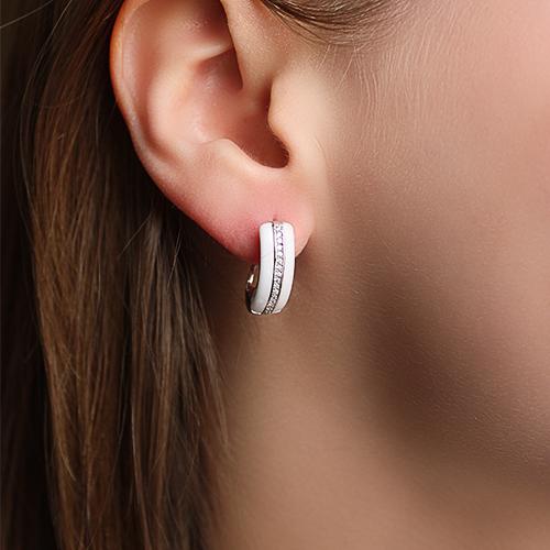 Серебряные серьги с белой керамикой и фианитами Млечный путь SLX--СК2ФК1/1003