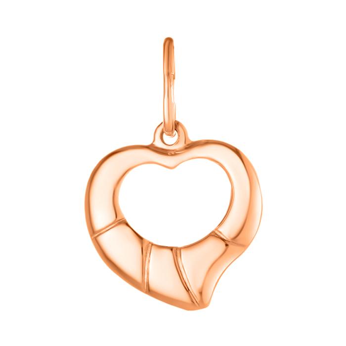 Золотой кулон-сердце Первая любовь с прямыми насечками 000071569