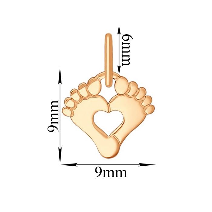 Золотая подвеска Ножки с сердечком 000080017