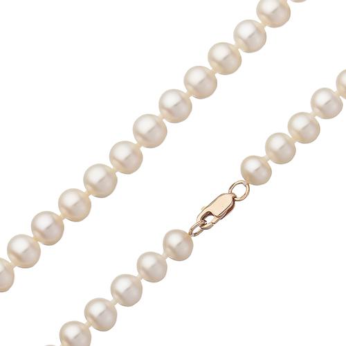 Жемчужное ожерелье Эдит с золотым родированным замком Ø7,5-8.0мм  000080534