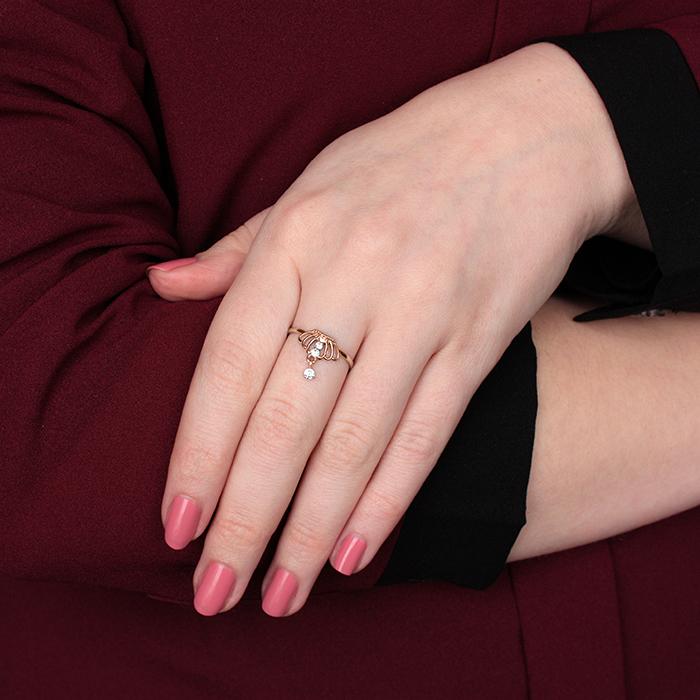 Золотое кольцо Корона с фианитами и подвеской 000079933