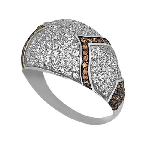 Золотое кольцо Рапсодия в комбинированном цвете с коньячными и белыми фианитами VLT--ТТ1029