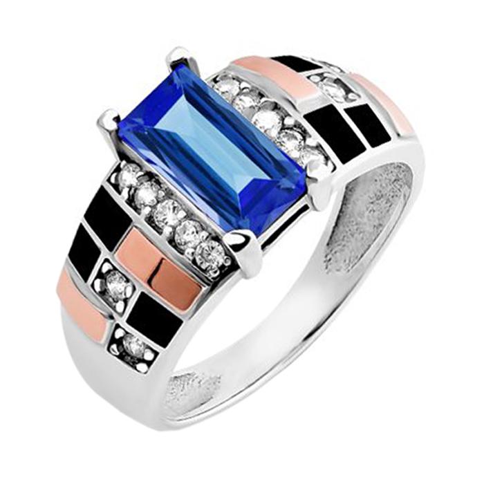 Серебряное кольцо Ираида с золотыми накладками, синим и белыми фианитами, черной эмалью 000067094