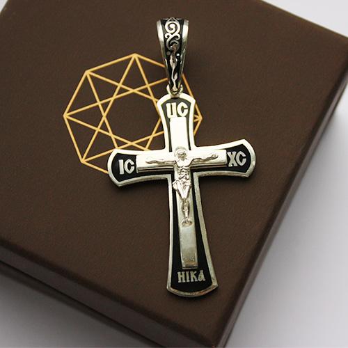 Серебряный крест с эмалью 000044791 000044791