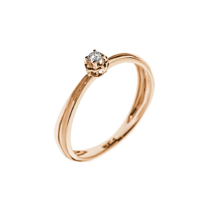 Кольцо в красном золоте Элен с бриллиантом 000079325