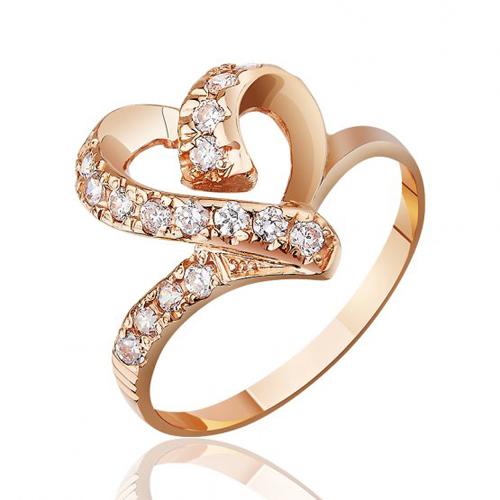 Золотое кольцо Сердечные дела в красном цвете с фианитами EDM--КД0228