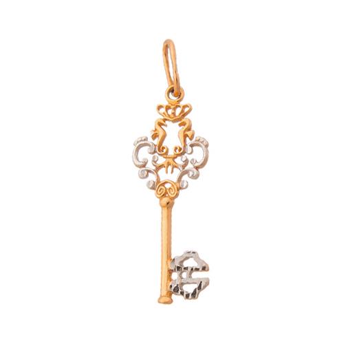 Золотой кулон Винтажный ключик в комбинированном цвете 55028/24б