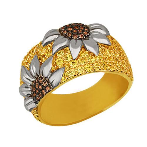 Золотое кольцо Подсолнухи в комбинированном цвете с коньячными и шампань фианитами VLT--ТТ1018-1